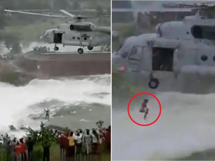 Indian Air Force airlifts stranded man near dam due to heavy rain - viral video