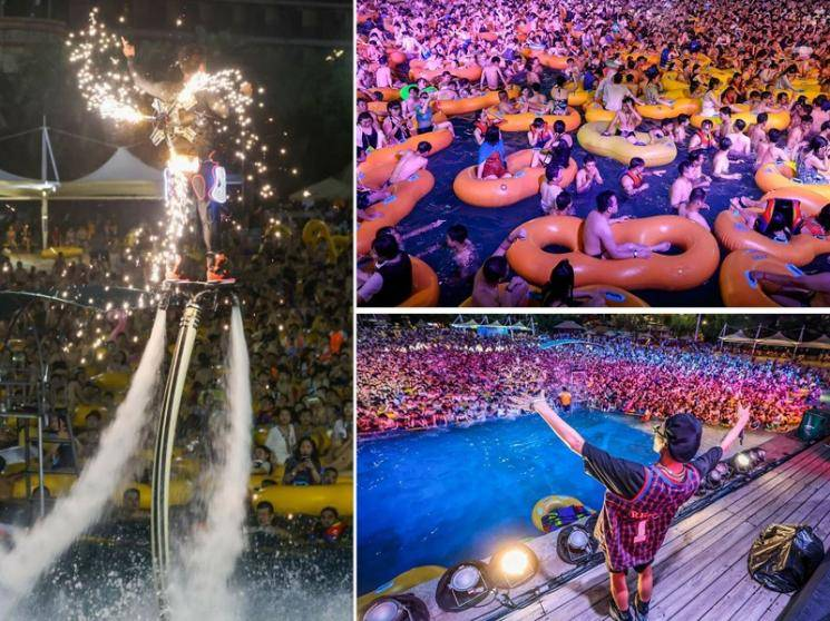Party time and no masks at Wuhan water park, thousands throng to have fun