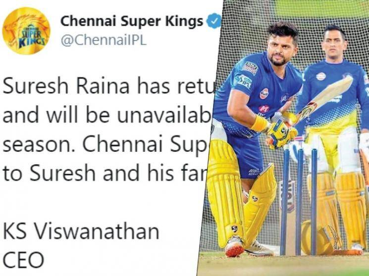 IPL 2020: Suresh Raina returns home, To remain unavailable for CSK for entire season