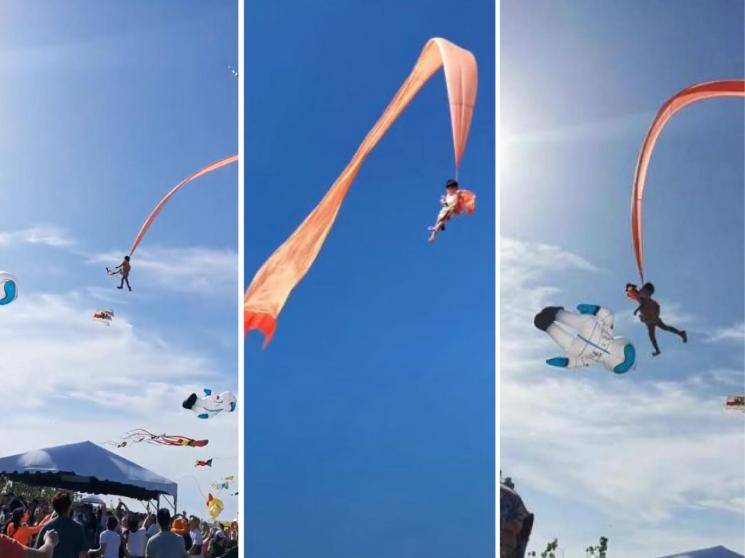 3-year-old girl caught in the tail of a kite and lifted high into the air  - VIRAL VIDEO